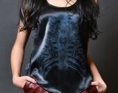 Handmade silk charmeuse racerbank tank My Cage blouse with bird in ribcage screen print shirt bone bronze black size 2 small