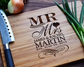 """Personalized Cutting Board """"Mr. and Mrs."""" Engraved Bamboo Wood for Wedding, Anniversary Gift"""