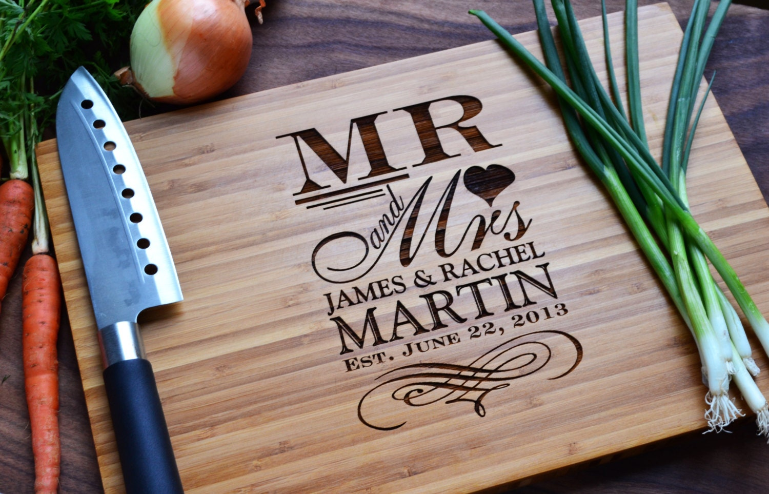 Wedding Gift Personalised: Personalized Cutting Board Mr. And Mrs. Engraved
