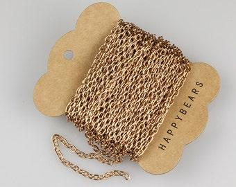 Rose Gold Chain, Anodized Aluminum Chain, Oval Cable Chain, 5.3x3.5mm, Thread Dia. 1mm, Pkg of 30 feet, N0FI.RG04.L30F