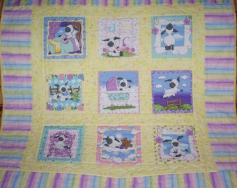 HANDMADE Sweet Little Lamb Baby Quilt, Soft and Warm baby Boy or Girl Crib Quilt