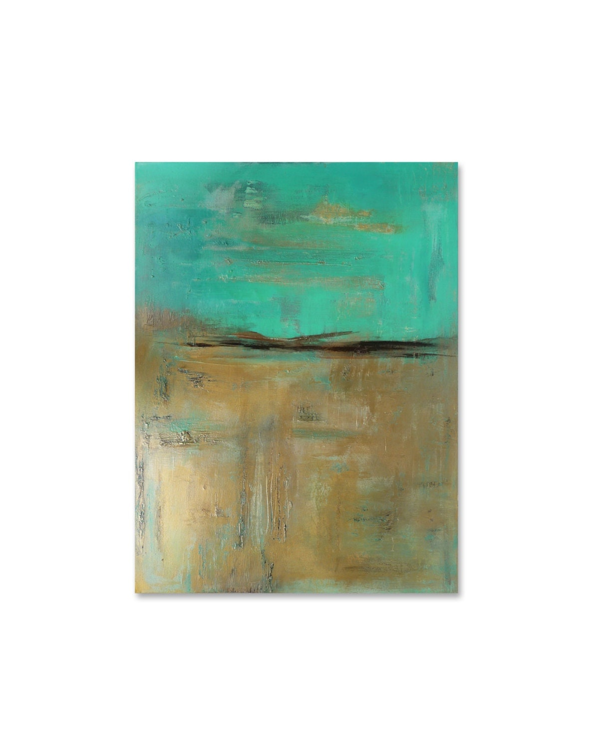Turquoise wall art gold and turquoise painting by for Gold wall paint uk