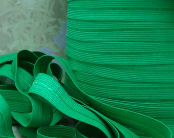 5yds Elastic Ribbon Fold Over Green HeadBands 1/2 inch 12mm FOE Kelly Green Stretch Trim  elastic by the yard