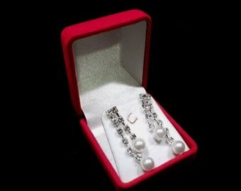 Earrings with  Rhinestones and Glass Pearls