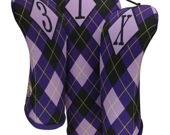 Womens Golf  Gifts Purple Argyle Print Club Covers golf head covers