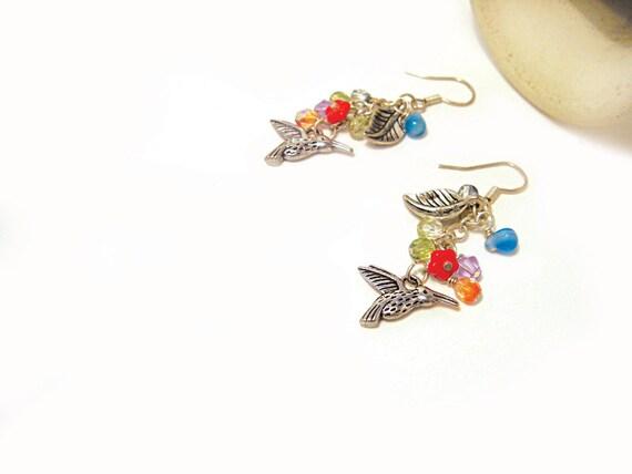 Colorful bird earrings with leaves Earrings for girl Spring earrings joyful Free shipping made in Israel