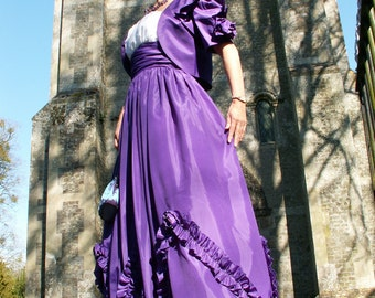 Scarlett O'hara Vintage 2 peice Steampunk prom dress gown and Jacket  by designer John Charles