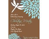 Dragonfly Flower Bridal Shower, Retirement Invitation, Aqua, brown, Black, Printable