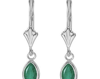 0.80ct Emerald Dangle Lever-Back Earrings 14K White Gold