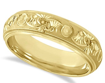 6mm Fancy Hand Engraved Carved Ring Wedding Band For Men in 14k Yellow Gold