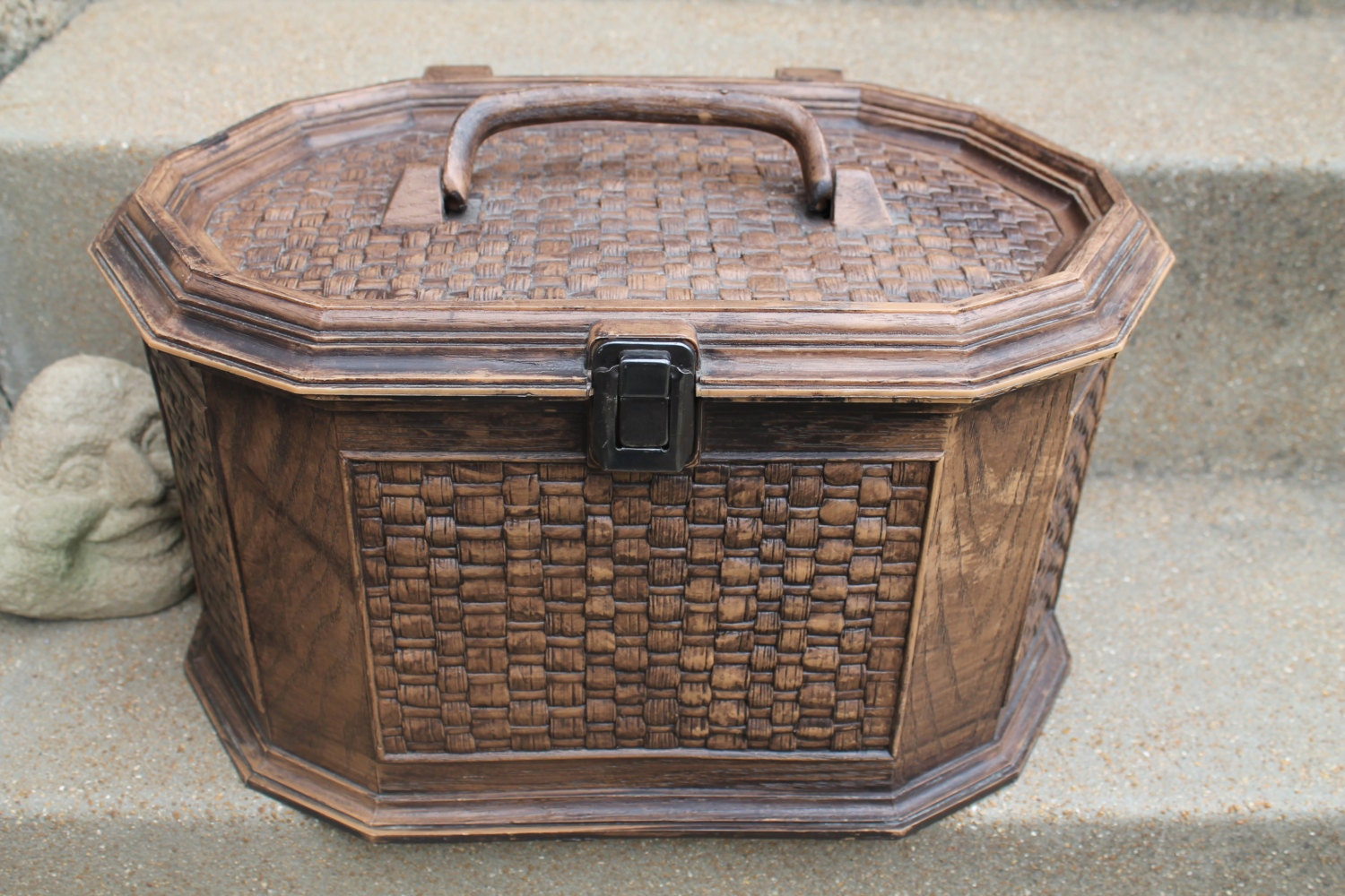 Wood Basket Weaving Supplies : Lerner sewing box faux wood carved and basket weave look with