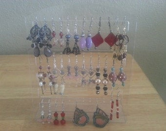 Plasitc Earring Display for 24 pairs earring, 5'' W x 7 5/8''H