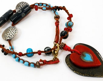 Bohemian Macrame Necklace, Red and Black Glass Heart Pendants, Red Cord, Turquoise, Red, Black Beads, Boho Chic