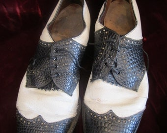 Pair of  Black and White Leather  Spectator Men's  Shoes, ca Late 1920s - 1930s