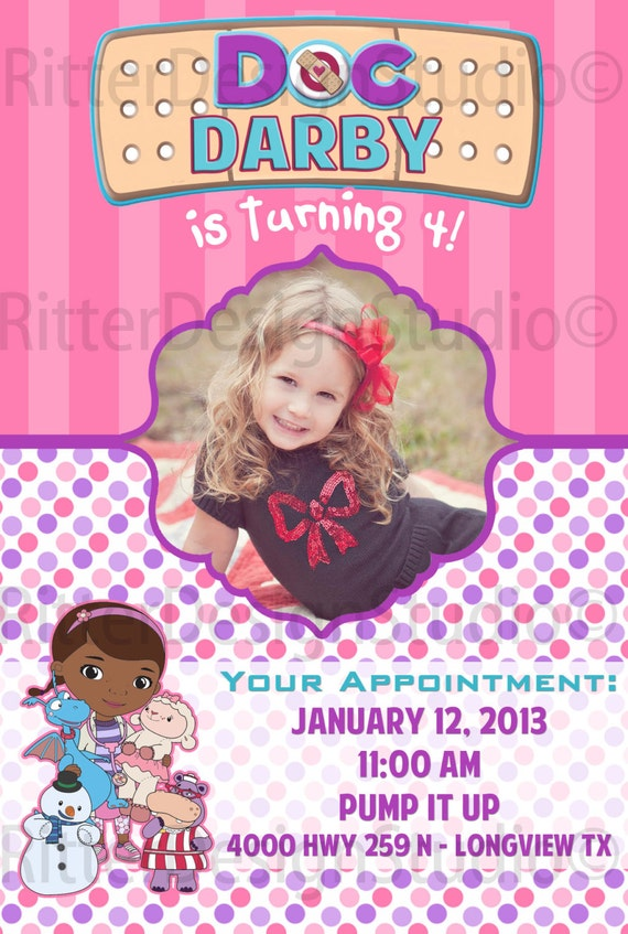 Doc McStuffins Birthday Invitation by RitterDesignStudio ...