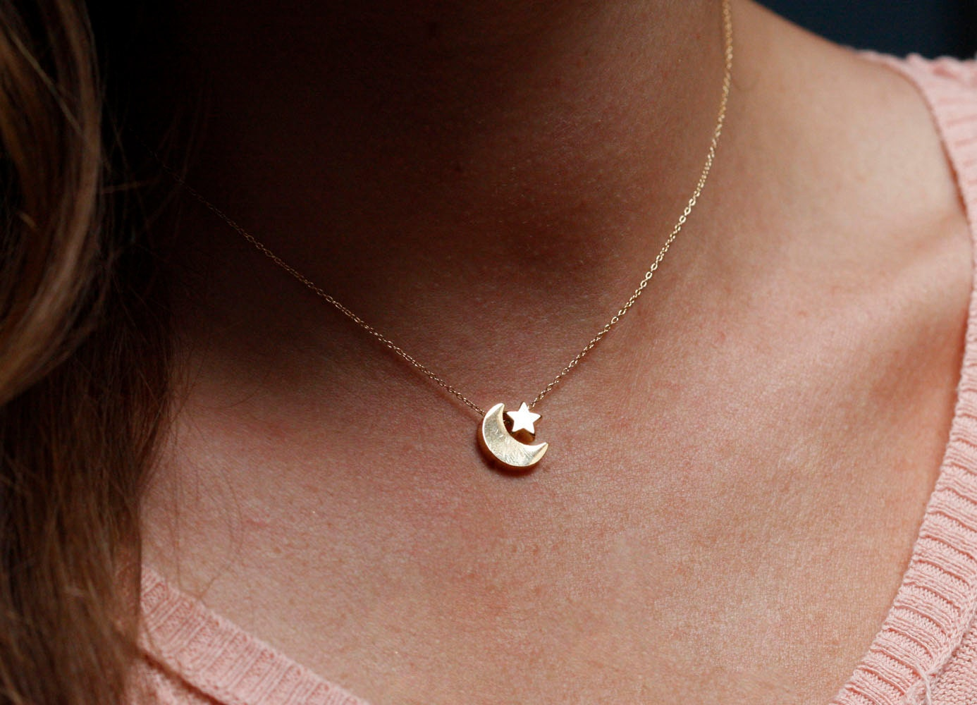 Moon And Star Necklace Gold Moon Star Necklace