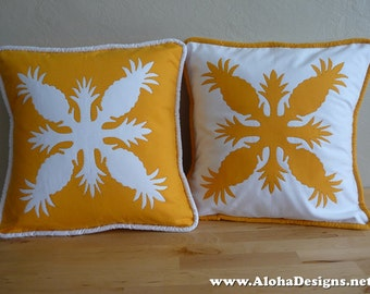 Hawaiian Quilt Pillow Covers - golden yellow pineapple