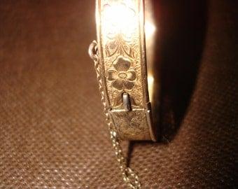 Vintage Floral Engraved Gold over Sterling Bracelet by Dunn Bros.
