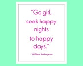 """Romeo and Juliet Shakespeare Quote 8""""x10"""" Print Typography for Baby Girl Nursery"""