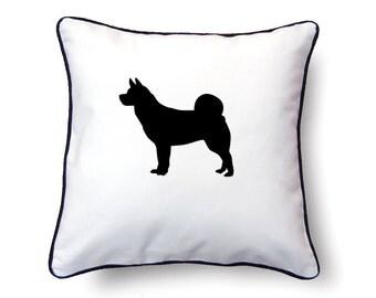 Akita Pillow 18x18 - Akita Silhouette Pillow - Personalized Name or Text Optional