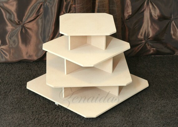 Cupcake Stand 4 Tier Square Mdf Wood 65 Cupcake Tower Jewelry