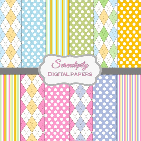 Sweet Argyle Digital Papers in Spring Colors