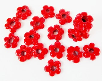 20 Poppy Red Mini Flower Artisan Handmade Glass Beads - 13mm - BE142