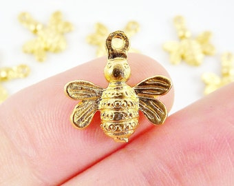 6 Busy Bumble Bee Charms - 22k  Matte Gold Plated