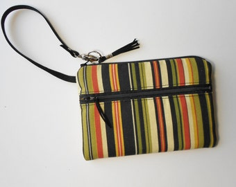 Wristlet or clutch, with stripes in beautiful fall colors