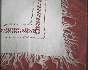 Antique French Lace embroidered towel - Vintage linen from France