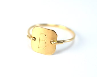 Gold Letter Ring