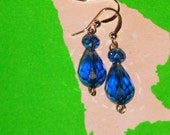 Dark Blue Drop Earrings
