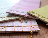 NOTEBOOK, japanese stab binding, pink, gold,  europeanstreetteam, gold, bead, sosteam, salesteam