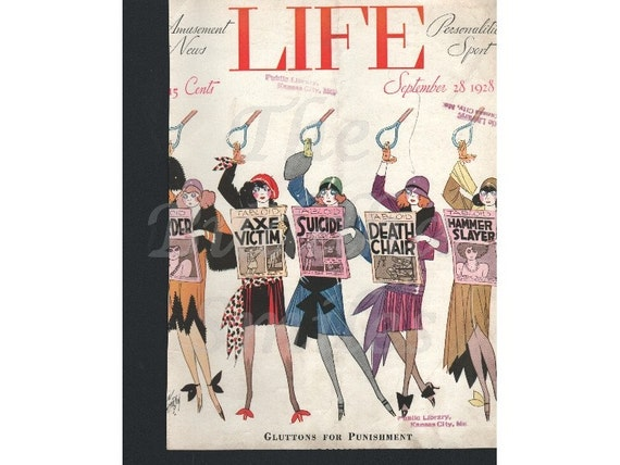 """September 8, 1928 Original Life Magazine Cover """"Gluttons for Punishment"""" artist Russell Patterson (458)"""