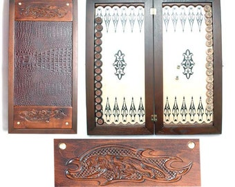 """20"""" HQ Handcarved wooden BACKGAMMON board with PANTHER"""