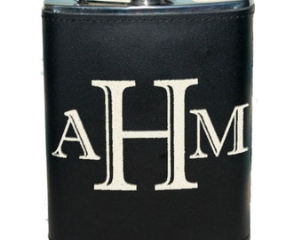 1 Personalized Groomsmen Gift - Custom Engraved Leather Liquor Flask - Monogrammed Flasks - Groomsman Best Man Ring Bearer Gifts