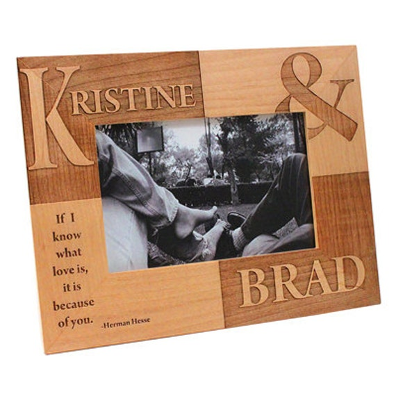 Engagement Gift Custom Engraved Picture Frame Rustic Wood Wedding ...