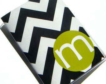 Custom Personalized Chevron Passport Holder Case Cover -- Black Chevron with Lime Green Circle