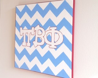 hand painted Pi Beta Phi letters outline with chevron background 12x12 canvas OFFICIAL LICENSED PRODUCT
