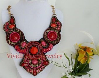 Pink Statement Necklace - Pink and Red Beaded Bib Necklace - Orange Necklace - Dark Pink Necklace - Hot Pink Necklace