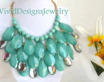 Mint Bib Statement Necklace - Bib Bubble Statement Necklace - Lucite Clear Rhinesone Teardrop Beads