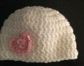 Baby Girl Valentine Hat Newborn, 0-3 and 3-6 months White with Heart
