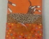 Orange SOCK MONKEY PILLOWCASE Kit with pattern