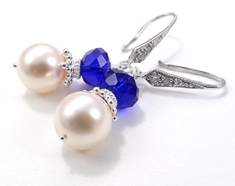 Sterling Silver Earrings - Creme Rose Swarovski Glass Pearls and Royal Blue Chinese Crystals