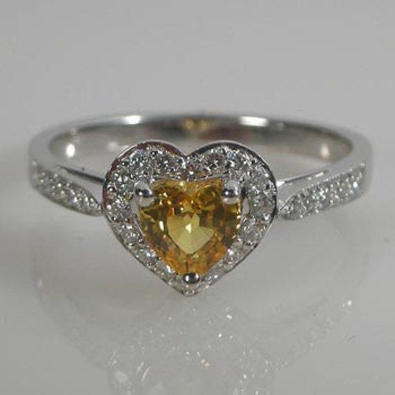 Heart Shaped Canary Diamond Ring