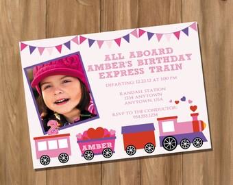 Choo Choo Train Birthday Party Invitation with Photo - Pink - Girls (Digital - DIY)