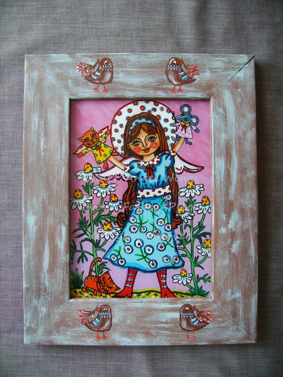 The angel and the glove puppets glass painting picture folk nursery wall kids art flowers girl child children violet blue mouse cat bird