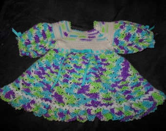 12M - Crocheted Toddler Dress - Blue Raspberry Bubblegum