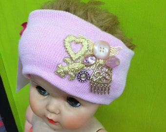 Pale Pink Decorated/Embellished Knit Headband Stretch Ear Warmer with Gold Charms & Jewels