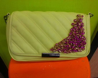 Glamour Girl Pale Yellow Quilted Leather Evening Bag Purse Shoulder Bag Embellished with Hot Pink Crystals